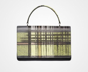 Tartain fabric and Saffiano leather handbag
